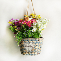 Gray hanging bamboo basket with flower basket for home decoration - $22.50