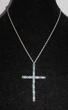 VTG Silver Tone Faux Turquoise Crucifix Necklace  - $19.80