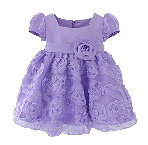 Beautiful Children Dress Lovely Girl Party Dress Princess Style Purple
