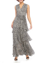 Tahari ASL Women's Allover Print Sleeveless Long Tiered Chiffon Dress Bl... - $38.63