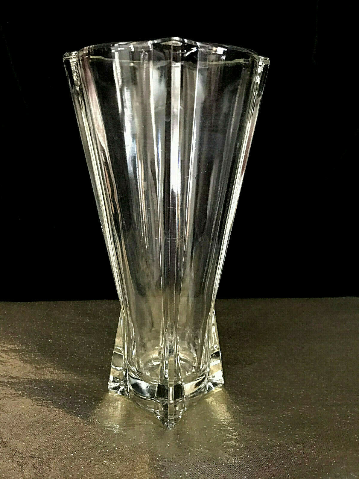 Primary image for Anchor Hocking Art Deco Clear Atomic Rocket Glass Vase Vintage 9""