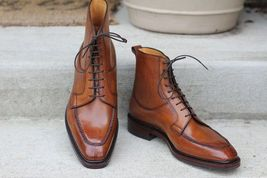 Handmade Men's Brown High Ankle Lace up Leather Boots image 1
