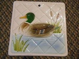 Old Vintage 1982 Oragiri OMC Japan Mallard Duck Cattails Kitchen Wall Ar... - $9.99
