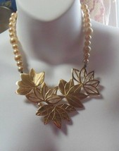 Vintage Signed Dauplaise Pearl & Large Leaves Necklace 1970's  RARE - $272.25
