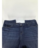 Lee Woman 24L Long Jeans Dark Blue Zipper Relaxed Fit Straight Whiskered... - $15.88