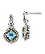 14K/Silver Two-Tone Sterling Silver With 14K Swiss Blue Topaz Earrings (... - $85.26