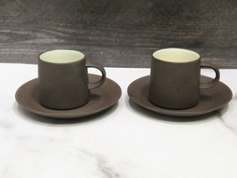 2 Dansk IHQ Denmark FLAMESTONE SMOOTH BROWN Cup & Saucer Sets Vintage   - $43.56