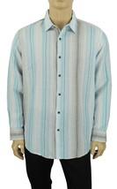 New Tasso Elba Long Sleeve Striped Linen Cotton Blue Aqua Button Front Shirt Xl - $17.99