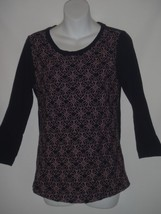 J CREW Womens SMALL S Black Floral EMBROIDERED Front Tee Knit TOP Shirt - $18.51