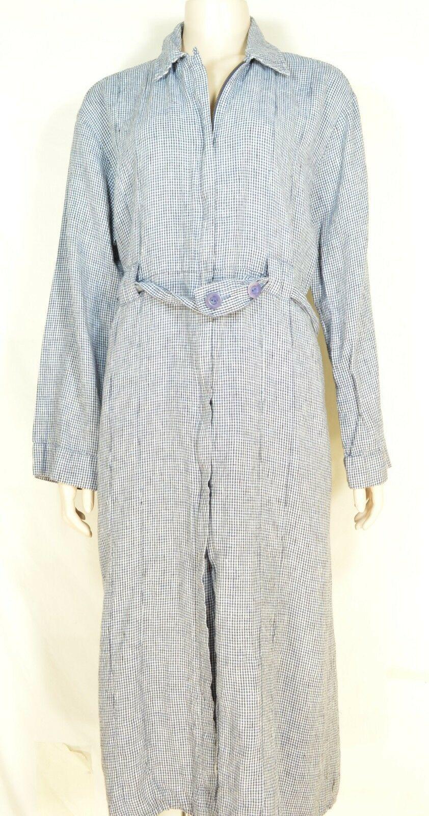 FLAX Engelhart dress coat SZ M blue white checks zipper pockets belted  long max