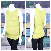 Talbots Petites Medium PM Lime Green Linen Sleeveless Cable Knit Sweater... - $24.74