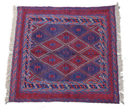 Ethnical Handmade Rug 4X4 Baluch Wool On Wool Tribal Square - $84.52