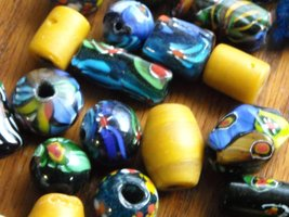 Vintage Trade Beads Hand Crafted Art Glass Mixed Shapes & Colors 54 Total  image 4