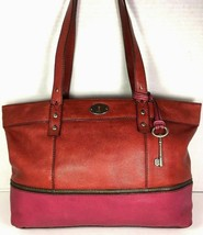 Fossil Large Red and Fuchsia Soft Leather Tote Bag – Distressed - $58.19