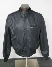 Vintage Members Only Black Bomber Racer Jacket Size 46 Cafe Motorcycle H... - $39.59