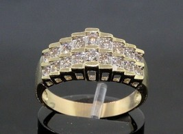 Women's  14K Yellow Gold Diamond Pyramid Ring 6.9 Grams  0.90Ctw Sizable... - $717.75