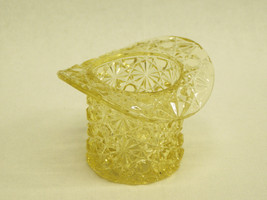 Vintage Glass Top Hat daisy & button Toothpick Holder gold yellow amber ... - $8.91