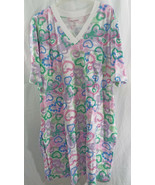 Women's Plus Size Sleepshirt Short Sleeves V Multi Color Heart 1X/2X -22 - $23.78