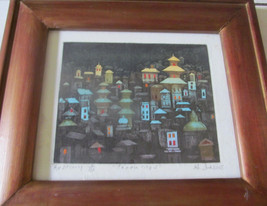 "Uma Shankar Shah Titled ""Temple City - 1"" A/P #2/25 Original Color Etchi... - $1,199.00"
