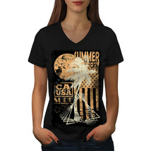 Summer USA Flag Vintage Shirt California Women V-Neck T-shirt - $12.99+