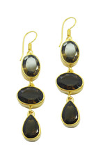 Brown Gold Plated Glass adorable Smoky Quartz gemstone Earring AU gift - $20.74