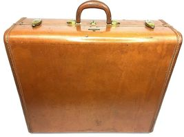 "Vintage Samsonite Shwayder Bros 1940's 1950's Brown Leather 21"" Suitcase... - $65.00"