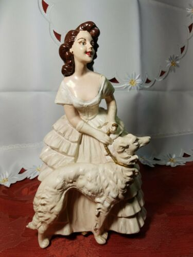 "Primary image for ANTIQUE 1930s CHALKWARE WOMAN WITH WOLFHOUND BORZOI DOG VERY HEAVY 10.5""x 6 3/4"""