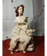 "ANTIQUE 1930s CHALKWARE WOMAN WITH WOLFHOUND BORZOI DOG VERY HEAVY 10.5""... - $7.99"