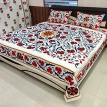 Beautiful Suzani Embroidered Indian Bedspread, Handmade Bedsheet 2 Pillo... - $107.79
