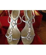 FABULOUS RENE CAOVILLA Moonstone and Pearl Heels Strappy and Sexy Weddin... - $200.00