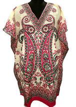 V-Neck Paisley Short Kaftan~Beach Kimono Caftan~Digitally Printed Top~Free Size - $9.49