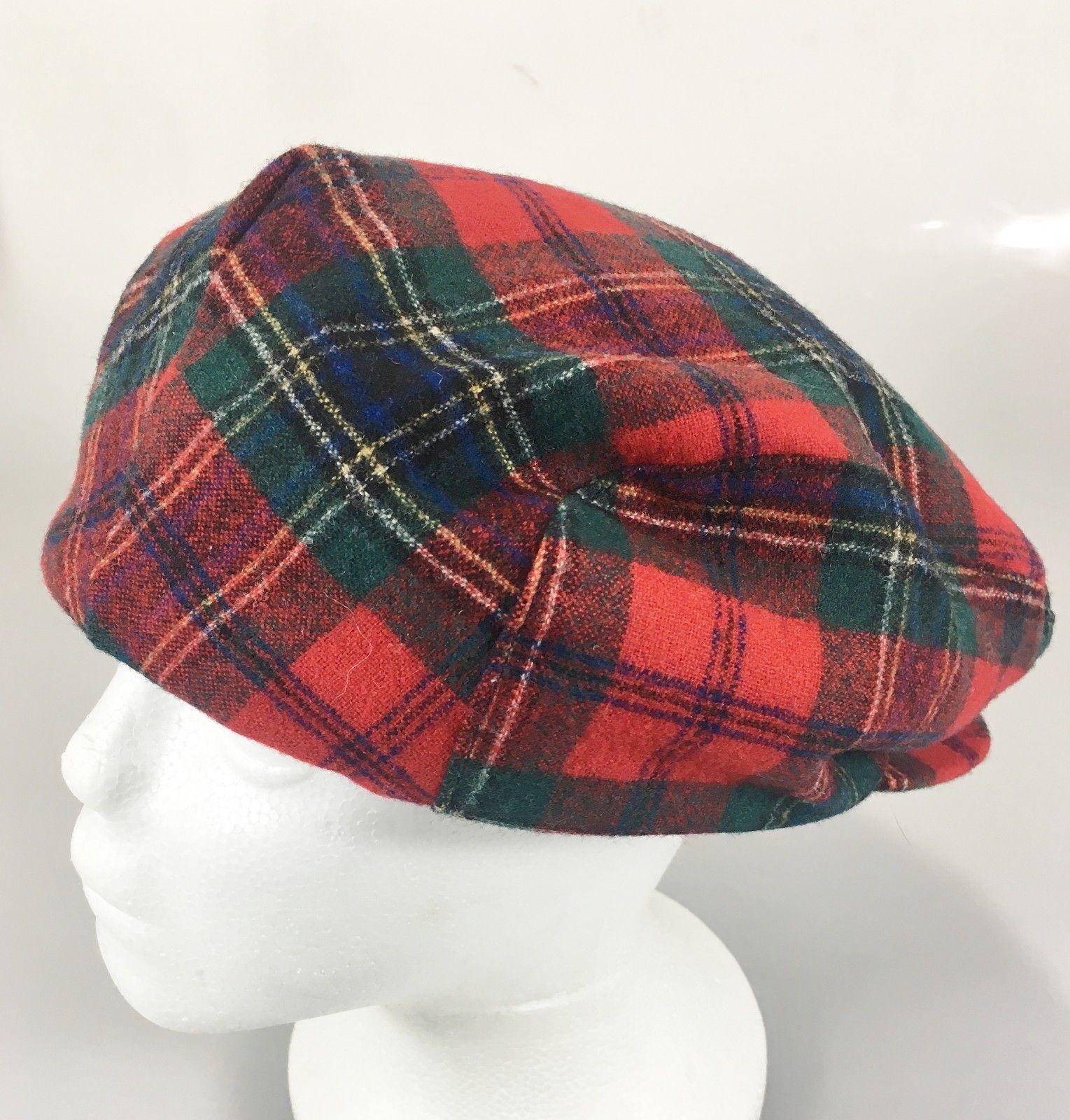 56b4f2333db Pendleton Mens L Red Tartan Plaid Virgin Wool Cap Hat Cabbie Newsboy Made  in USA