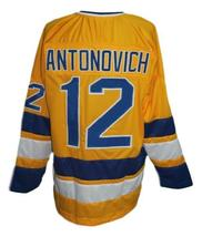 Custom Name # Minnesota Fighting Saints Hockey Jersey Antonovich Yellow Any Size image 2