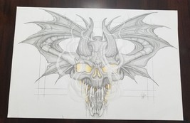 "12"" x 18"" Skull Dragon Demon Pencil Sketch Drawing on Paper Tattoo Desig... - $28.98"