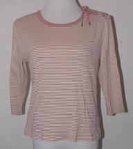 Ralph Lauren Jeans Womens Top Medium Striped Shoulder Tie Embellishment LRL - $15.99