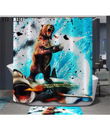 Bear & Shark Shower Curtain Waterproof Polyester Fabric For Bathroom - $37.30