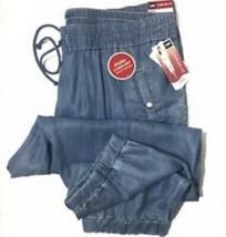 Lee Sz 16 Blue Comfort Fit Just Below Waist Tencel Chambray Cropped Capris Pants - $27.55