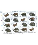 INDONESIA 1996 WWF SETENANT SHEET OF 16 RHINOS 2665-A50 - $220,67 MXN