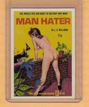 Man Hater by JX Williams promo card book mark GGA pulp fiction sleaze novel - $3.14