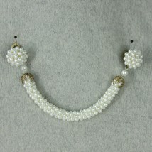 Vintage Sweater Guard Collar Clips Rope Faux Pearls Mid Century Cardigan Clasp   - $39.55