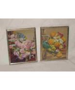 "Neat Vintage Pair 4"" X 5"" Framed Flower Prints - $48.23"