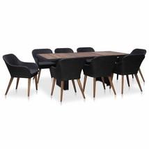 vidaXL 7/9 Piece Garden Dining Set w/ Cushion Poly Rattan Black and Gray... - $585.99+