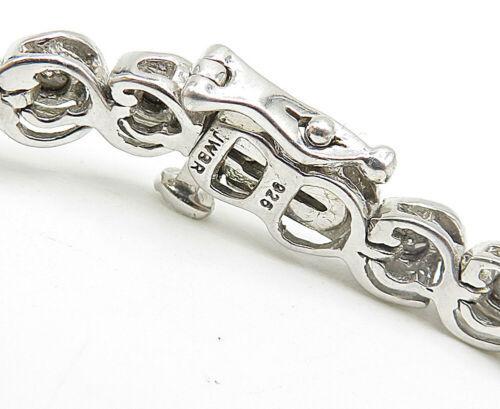 JWBR 925 Silver - Vintage Genuine Diamonds Swirl Link Tennis Bracelet - B5065