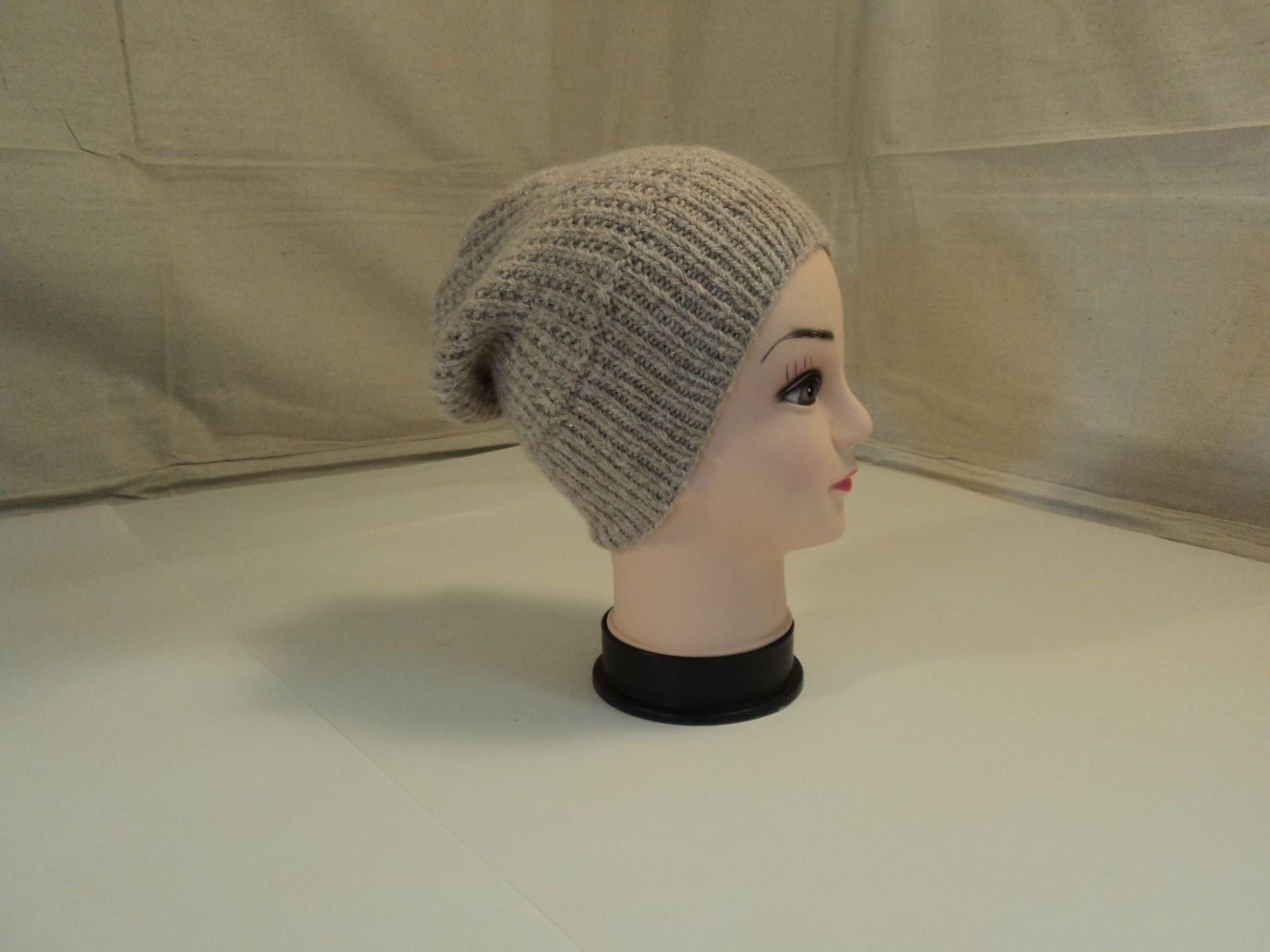 Handcrafted Reversible Slouchy Hat Beige With Sparkles Merino Wool Female Adult