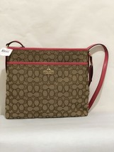NWT Coach Outline Signature File Bag Cross-body Bag Im/Khaki/Strawberry,... - £69.58 GBP