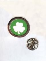 coin style irish shamrock Lapel Pin Badge / tie pin. in gift box enamel finish