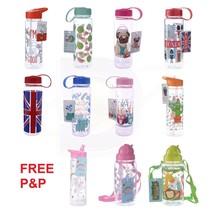 Children's Kids Water Bottle with strap BPA Free Fun Designs Unicorn Sch... - £6.90 GBP+