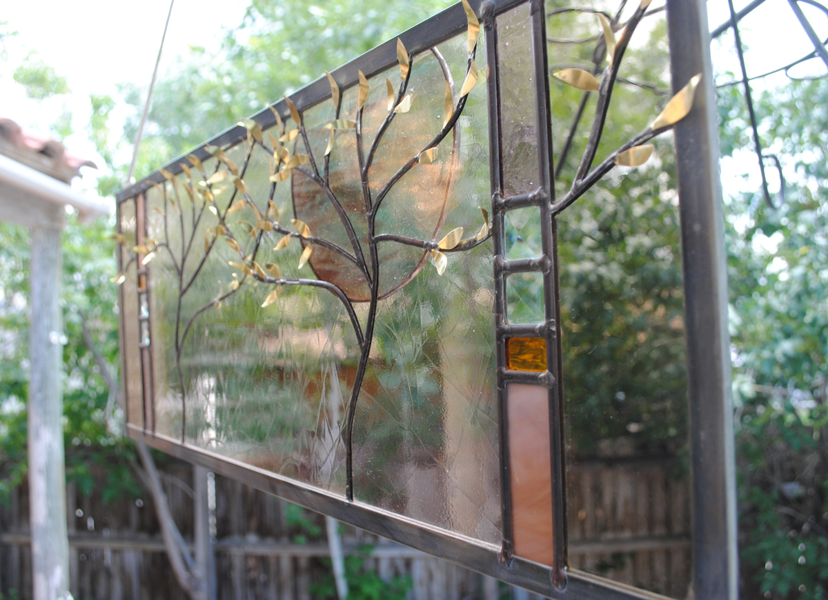 Stained Glass Window Panel Two Trees Crystal Moon