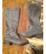 SO WOMEN'S 6M GARLAND GREY TALL BOOTS ZIPPERED BACK BUCKLE ANKLE ACCENTS... - $39.59