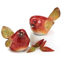 Sculpted Hand Painted Resin Red Bird Figurines - $20.13